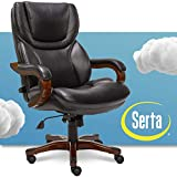 Serta Big and Tall Executive Office Chair with Wood Accents Adjustable High Back Ergonomic Lumbar Support, Bonded Leather, Black