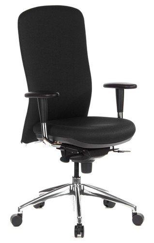 hjh OFFICE 710400 Profi Bürostuhl HIGH-TECH Stoff Schwarz Ergonomischer Drehstuhl, Sitztiefe verstellbar