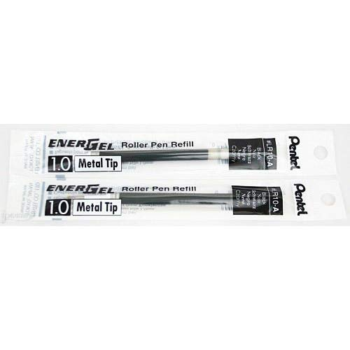 2 Pk Pentel LR10-A EnerGel Refills, 1.0 mm Bold, Black