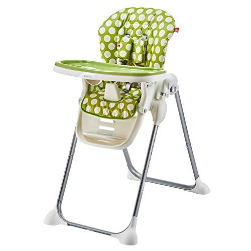 CCLLA Verstellbarer klappbarer Babyhochstuhl, herausnehmbares Tablett und 5-Punkt-Gurt (Farbe: GRÜN)