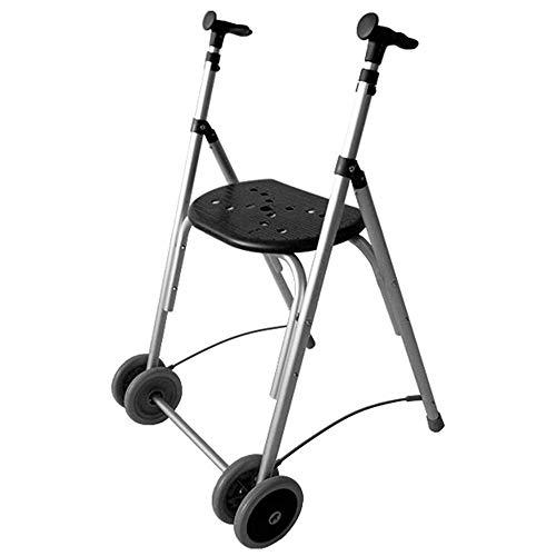 Andador Rollator   De aluminio   Plegable   Regulable en altura   Color negro