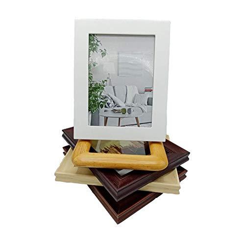 LLKK Marco de Fotos de Madera Maciza,Marco de Fotos,Mesa,montado en la Pared,Color café clásico (5 Piezas de Color Mezclado)