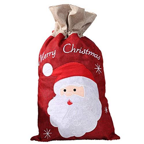 Toddmomy 1 Pza de Navidad con Cordón Bolsas de de Arpillera Bolsas de Regalo Bolsas de Regalo para Favores de Navidad (Tamaño L Santa Claus)