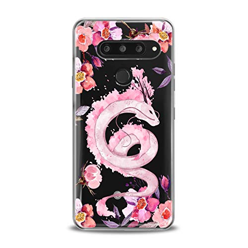 Lex Altern TPU Case Compatible with LG G8 Stylo 6 5 K62 K11 G7 ThinQ G6 K42 V35 V50 Beautiful Dragon Print Slim fit Soft Bloom Clear Dragon Cover Lightweight Flowers Blossom Design Anime Smooth Roses