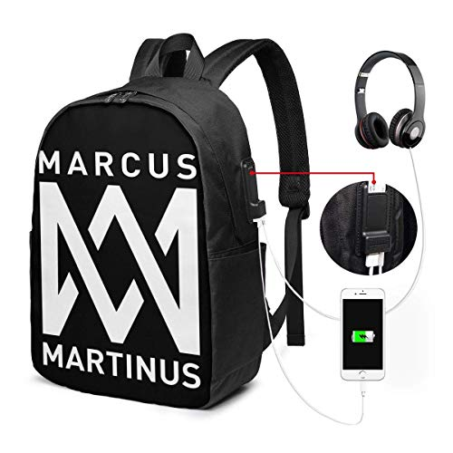 Lawenp Marcus & Martinus Logo Laptop Backpack 17 Inch College School Backpack with USB Charging Port Casual Daypack for Travel