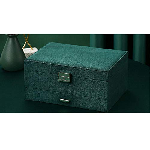 ASDMRQ Caja de joyería, caja de almacenamiento verde de tres capas, caja de joyería de gran capacidad, caja de joyería de diseño simple