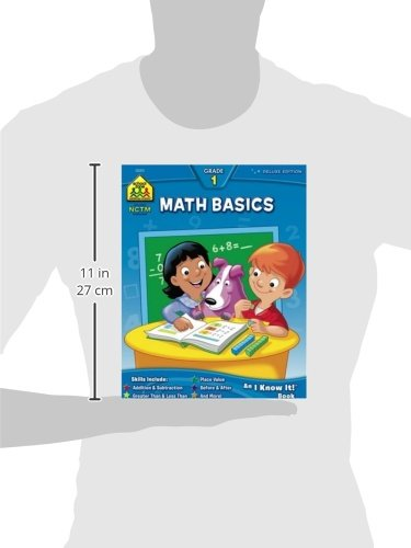 School Zone - Math Basics 1 Workbook - 64 Pages, Ages 6 to 7, 1st Grade, Numbers 1-100, Identifying Numbers, Skip Counting, and More (School Zone I Know It!® Workbook Series) (Deluxe Edition 64-Page)