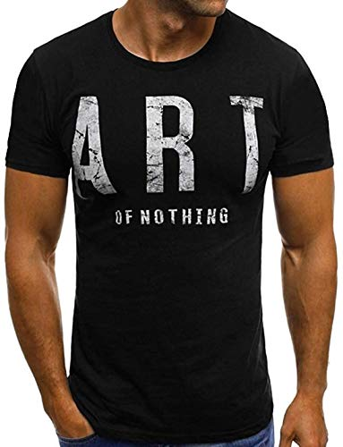DamonRHalpern Men's Short Sleeve Tee Shirt Letter Printed Casual Top Tees Blouse Active Quick Dry Athletic Running Gym Workout