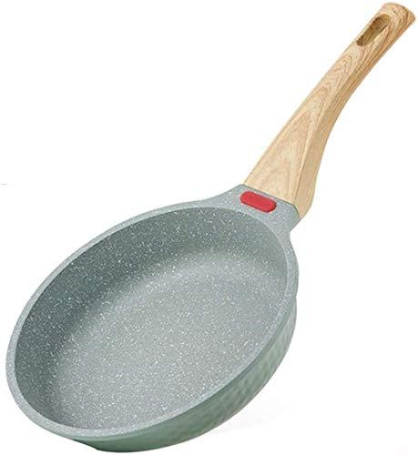 Sartén de piedra para el hogar Sartén antiadherente con mango de madera Se utiliza para freír bistecs, tortillas y salteados-Without cover||20cm