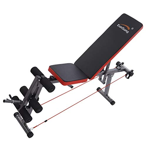 Home Gym Adjustable Weight Bench Foldable Workout Bench, Adjustable Sit Up Incline Abs Benchs Flat Fly Weight Press Fitness (Black4)