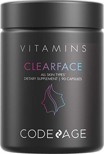 Clearface Pantothenic Acid, NiacinSupplement, Vitamins A, C, D3, E, FloraFIT Probiotics, Zinc, Riboflavin, Thiamin, L-Lysine HCL & Omega-3, Niacinamide, Skin Botanical Blend - Non-GMO - 90 Capsules