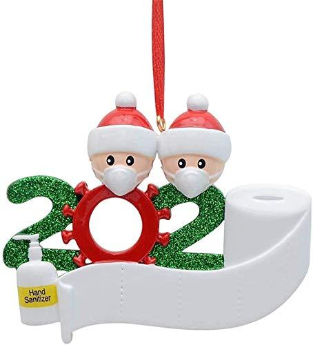 Adornos para árbol de Navidad, decoración de árbol de Navidad, 2020 sobrevivió la familia colgante colgante decoración, nombre de bricolaje personalizado, regalo de Navidad para amigos y familias