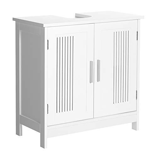 VASAGLE Waschbeckenunterschrank, Badezimmerschrank, Unterschrank, 60 x 30 x 60 cm, Aufbewahrungsschrank mit 2 Türen, mit Griffen, verstellbare Regalebene, skandinavischer Stil, mattweiß BBC06WT