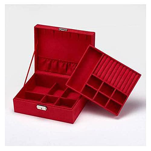RXSHOUSH Caja de joyería grande organizador de almacenamiento multicapa boda terciopelo caso joyería con anillos de bloqueo pendientes collar reloj embalaje rojo