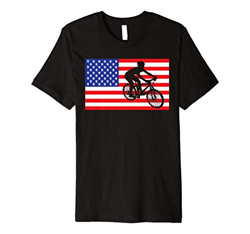 Mountain Biking USA American Flag Bike MTB Biker 4th Of July Premium T-Shirt