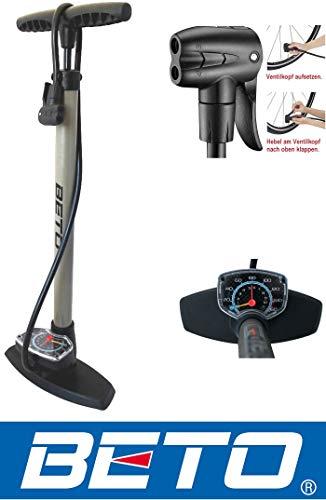 Standpumpe mit Extra grossem Manometer BETO Fahrradpumpe – für Alle Ventile - 2