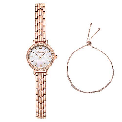 EVANA Fashion Simple dial con Incrustaciones de Diamantes de imitación Reloj de Acero Inoxidable Reloj de Cuarzo para Mujer de con Brazalete (Blanco)