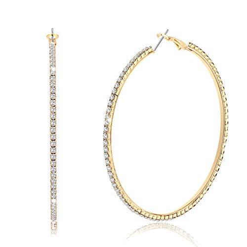 BSJELL Gold Large Hoop Earrings with Rhinestone For Women Big Circle Hoops Dangle Earrings Crystal Bridal Wedding Fashion Jewelry for women girls