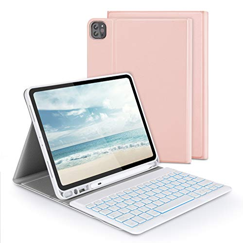 Keyboard Case for iPad pro 11 2020, 2018, Jelly Comb Bluetooth Backlit Removable Keyboard UK Layout Qwerty with Protective Case for iPad Pro 11 inch with Pen Holder, 7-Color Backlight, Rose Gold