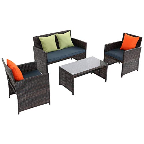 Furnimy 4 Pieces Outdoor Furniture Patio Set, PE Rattan Wicker Patio Furniture, 2 Patio Chairs and 1 Patio Table for Poolside, Garden, Balcony, Porch, Deck, Backyard (Dark Blue)