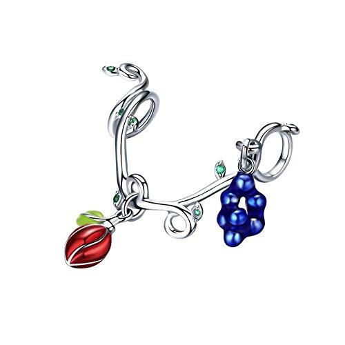 HMMJ Frauen S925 Sterling Silber Anhänger Süße Frucht-Kompatibel mit Pandora & European Armbänder Colliers