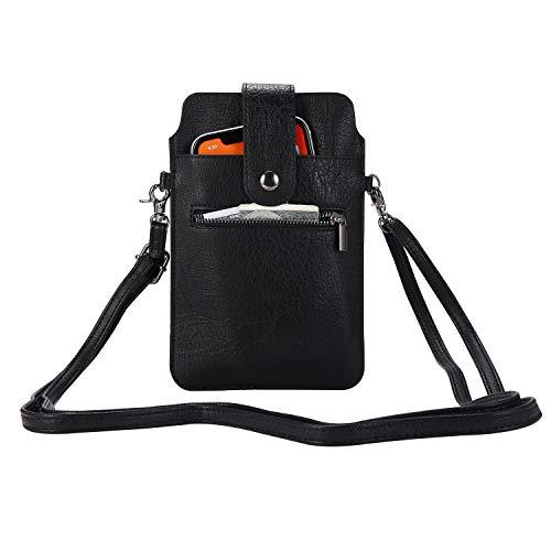 SZCINSEN Bolso cruzado para teléfono celular, bolso con correa ajustable, bolso cruzado para mujer, bolso de hombro de cuero (color negro)