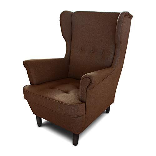 Ohrensessel Sessel King - Lounge Sessel mit Armlehnen - Retro Stuhl aus Stoff mit Holz Füßen - Polsterstuhl für Esszimmer & Wohnzimmer (Braun (Inari 24), ohne Hocker)