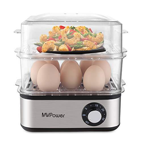 MVPower Eierkocher Doppelschicht Multifunktions elektrische Eierkocher,für 1-16 Eier,Edelstahl Eierkocher,Messbecher mit Eipick