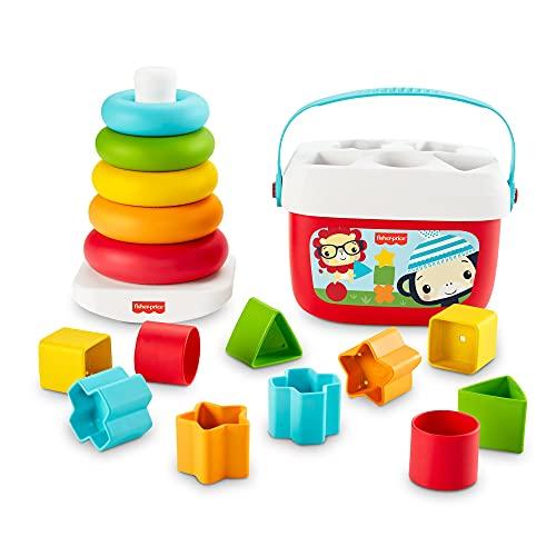 Fisher-Price Primeros Bloques para Bebé y Pirámide Apilable ecológicos, para bebés +6 meses (Mattel GRF11)