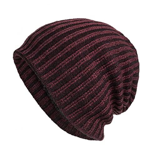 YTZL Berretto in lana merino merino, da donna e da uomo, con fodera interna in pile, morbido berretto invernale caldo per la corsa, per l'autunno e l'inverno, Vino B, Taglia unica