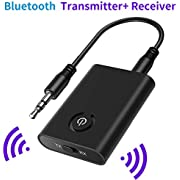 SOOTEWAY Bluetooth 5.0 Transmitter Receiver, 2 in 1 Bluetooth Adapter Mini Portable 3.5mm Jack, Low Latency Compatible with Bluetooth Audio Devices for PC/TV/Car Sound System/Wired Speakers