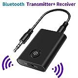 SOOTEWAY Adaptador Bluetooth V5.0 Transmisor y Receptor 2-en-1 Jack 3,5 mm Receptor Audio Música Baja Latencia en Modo RX TX, para TV/Altavoces/PC/Auriculares/Coche