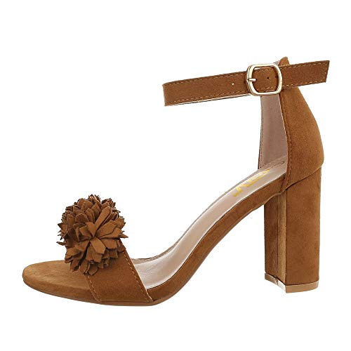 Ital-Design Damenschuhe Sandalen & Sandaletten High Heel Sandaletten Synthetik Camel Gr. 38