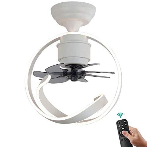 Helle Moderne Deckenventilator mit Beleuchtung dimmbar mit Fernbedienung 18W LED Deckenventilator mit Lampe, Acryl Aluminium Lampshade, for Schlafzimmer Wohnzimmer Esszimmer 75cm, Weiss