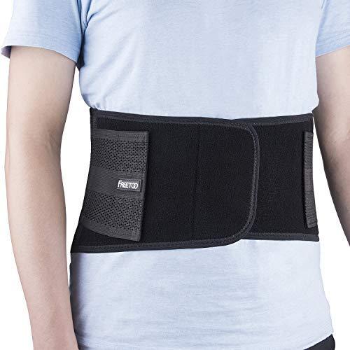 FREETOO Rückenbandage mit Stützstreben Verstellbare Zuggurte und atmungsaktiver Nylonstoff ideal für Arbeitsschutz entlastet die Rückenmuskulatur zur Haltungskorrektur (S/M Taillenumfang(60-84cm))
