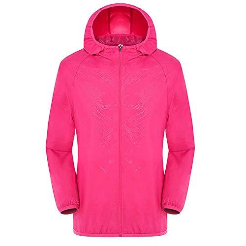 KongLyle Wasserdichte Jacke, winddicht, ultraleicht, atmungsaktiv, wasserdicht, für Frauen und Männer, rot/rosa, L