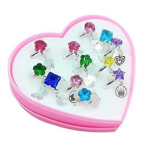 VVXXMO 12/36 Pcs/Box Adjustable Alloy Children Girl Rings Kit,Fashion Cartoon Rings with Heart Shaped Showcase,Birthday Party