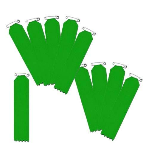 盾型 緑色 10枚入(一枚ビラ)【リボン徽章・胸章】 安全ピン仕様