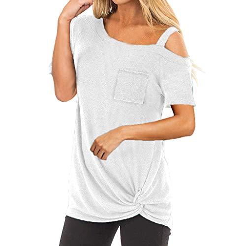 Femme Blouses DDUPNMONE O Cou Hors Des éPaules Solide Demoiselle Manches Courtes T-Shirt éTé Sexy Mode ÉLéGante Chic Blouse Meilleur Cadeau