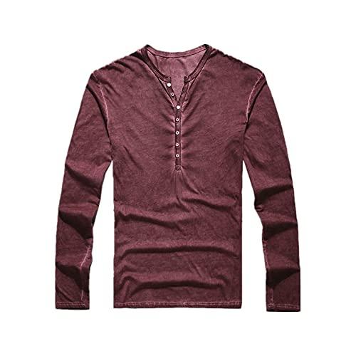Camiseta de los hombres Vneck manga larga Top Moda Slim Button Otoño Casual Pure