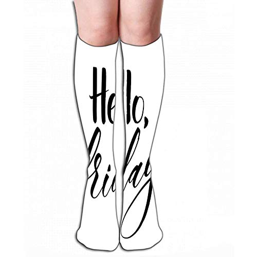 Heren vrouwen outdoor sport hoge sokken kous Hallo vrijdag inspirerende citaat moderne kalligrafie penseel geschilderd letters sjabloon banner kaarten apparaatdeel tegellengte 50 cm