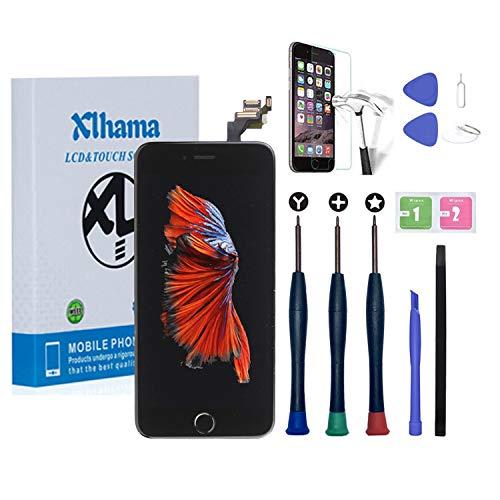 Xlhama Display LCD Touch Screen per iPhone 6 Plus Schermo Nero 5.5' con Tasto Home Fotocamera Frontale Altoparlante Sensore di Prossimità Kit Frame con Pellicola Vetro temperato