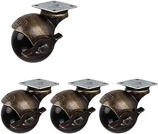 Wielen met kogels, 50 mm, voor meubels, antiek, vaste plaat, zwenkwielen met rem 180 kg, veilig voor carrefour van bladvlo...
