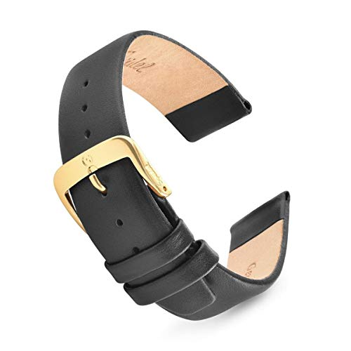 Speidel Genuine Leather Watch Band, 15mm Black Classic Calf Skin Replacement Strap, Stainless Steel Metal Buckle, Fits Most Watch Brands