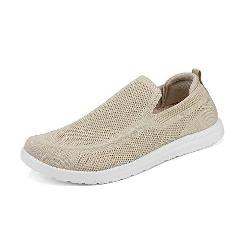 Bruno Marc SUNVEN Zapatillas Deportivo para Hombres Zapatillas de Deporte Hombres sin Cordones Running Zapatos Gimnasia Entrenamiento Sneakers Transpirables Beige Oscuro 41.5 EU/8.5 US