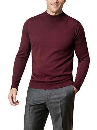 Walbusch Herren Merino Mix Stehbund Pullover einfarbig Bordeaux 62-64
