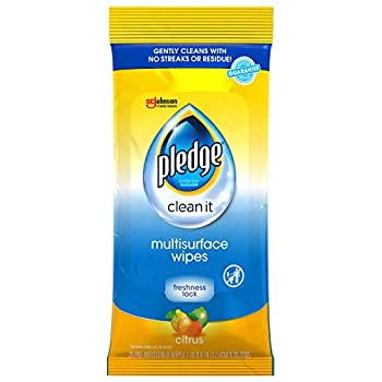 Pledge Multi-Surface Furniture Polish Wipes Works on Wood Granite and Leather Cleans and Protects Fresh Citrus - Pack of 4  100 Total Wipes