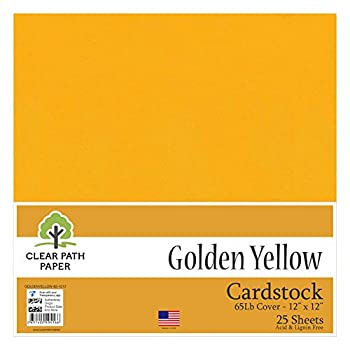 Golden Yellow Cardstock - 12 x 12 inch - 65Lb Cover - 25 Sheets - Clear Path Paper