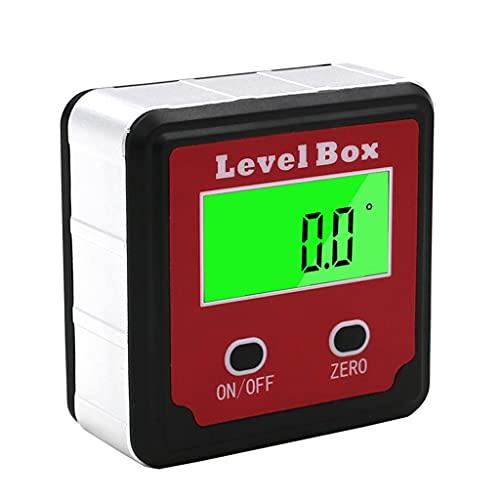 WOYZDN Caja de Nivel inclinómetro de transportador Digital de precisión roja Caja de Bisel con buscador de ángulo Digital con Base