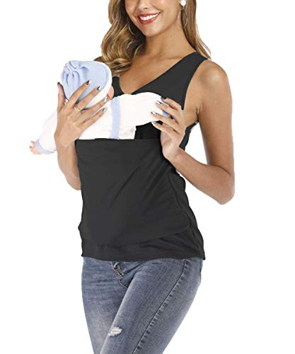 Women Kangaroo T-Shirt Mom Maternity Baby Soothing Carrier Wrap Pocket Tops Blouse (Black, XXXLarge)